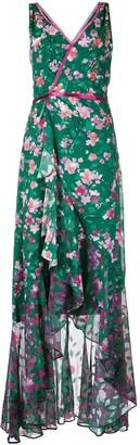 Marchesa Notte Long Floral Wrap Dress