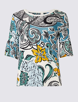 Classic Swirl Print Flute Sleeve Round Neck T-Shirt