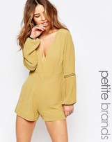 Glamorous Petite Plunge Front Bell Sleeve Romper