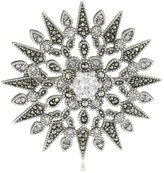 "Judith Jack Winter Sparkle"" Sterling Silver, Marcasite, and Cubic Zirconia Snowflake Brooch"