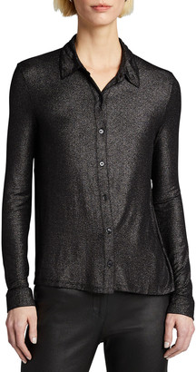 Majestic Filatures Soft Touch Metallic Long-Sleeve Pleated Back Shirt