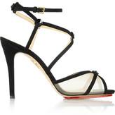 Charlotte Olympia Isadora Crystal-embellished Suede And Mesh Sandals - Black
