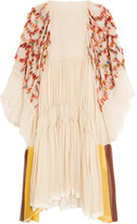 Chloé Appliquéd Silk-crepon Dress - Cream