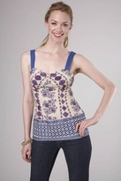 Plenty by Tracy Reese Border Cami Top in Floral Stripes