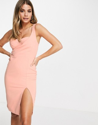 4th + Reckless one shoulder bra detail midi pencil dress in peach