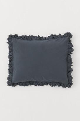 H&M Ruffle-trimmed Pillowcase - Gray