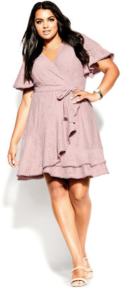City Chic Sweet Love Lace Dress - dusty rose