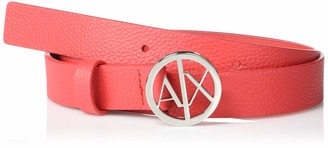 A|X Armani Exchange Women's Circle AX Logo Buckle Grained Leather Belt