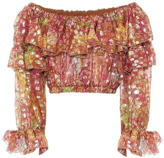 Dundas Printed silk-blend jacquard crop top