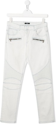Balmain Kids TEEN denim biker jeans