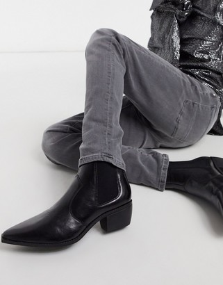 ASOS DESIGN cuban heel western chelsea boots in black faux leather with angular sole