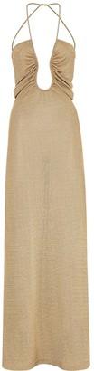 Fendi metallic U-neck ruched dress