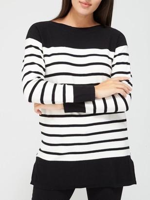Very Stripe Side Zip Detail Tunic - Mono Stripe