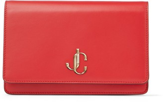 Jimmy Choo PALACE Royal Red Smooth Calf Leather Chain Wallet with JC Emblem