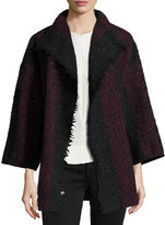 IRO Beverly Striped Knit Jacket, Black/Red