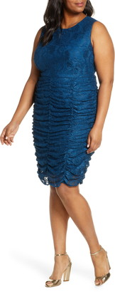 Eliza J Ruched Lace Bodycon Dress