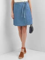 Denim A-line wrap skirt