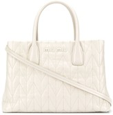 Miu Miu logo plaque quilted tote bag