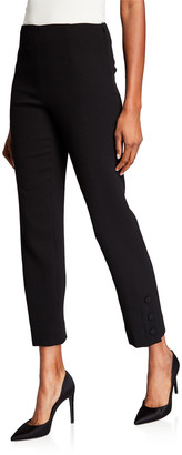 Lela Rose Wool Crepe Button-Placket Crop Pants