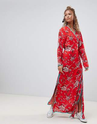 Glamorous floral maxi wrap dress-Red