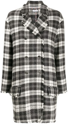 Thom Browne Unconstructed Round Collar Low Slung Sport Coat w/ Fray In Tartan Check Cashmere Tweed