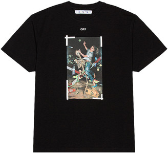 Off-White Pascal Print Short Sleeve Over Tee in Black & White | FWRD