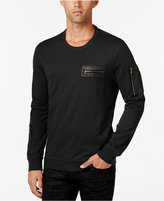INC International Concepts Men's Stencil Faux-Leather Pocket Sweatshirt, Only at Macy's