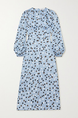Racil Elisa Open-back Polka-dot Satin Midi Dress - Blue