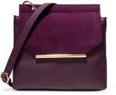 Halston Suede-Trimmed Leather Shoulder Bag
