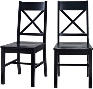 Hewson Set Of 2 Solid Wood X-Back Kitchen Dining Chairs