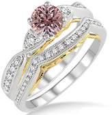JeenJewels 1.25 Carat Morganite & Diamond two tone bridal setround cut diamond on 10k White Gold
