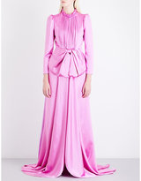 Gucci Pink Modern Bow-Detail Pleated Satin Gown
