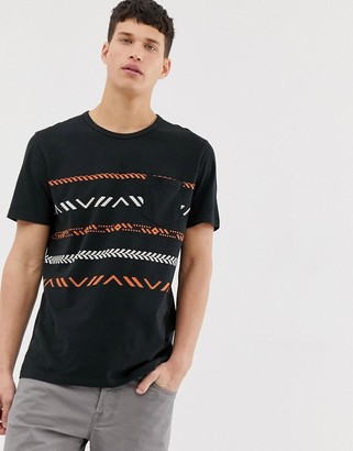 Jack and Jones Originals geo-tribal print t-shirt in black