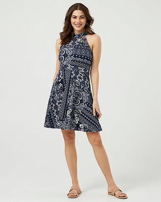 Le Château Ornamental Print Stretch Knit Dress