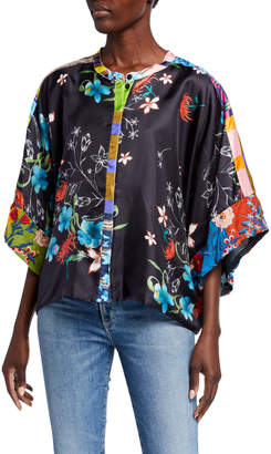 Johnny Was Angle Reversible Button-Front Short Kimono Top