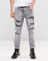 Religion Gore Ripped Jeans in Gray