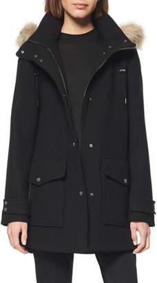Andrew Marc Faux-Fur-Collar Wool-Blend Duffle Coat