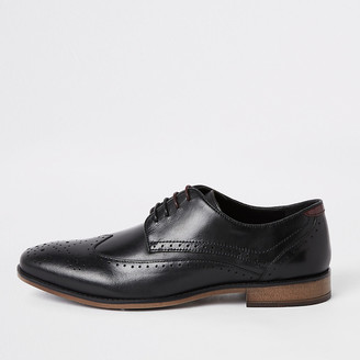 River Island Black wide fit leather lace-up brogues