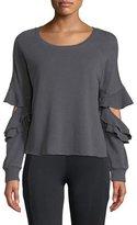 Lanston Ruffle Cutout French-Terry Pullover Sweatshirt