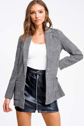 Montrez Black herringbone tweed blazer