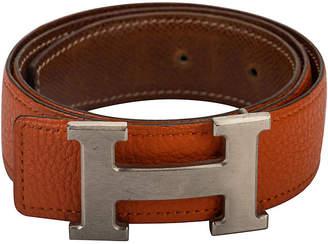 One Kings Lane Vintage Hermes Reversible Orange/Gold H Belt - Vintage Lux