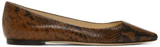 Jimmy Choo Brown Snake Printed Romy Flat Loafers