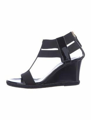 Fendi Patent Leather T-Strap Sandals Black