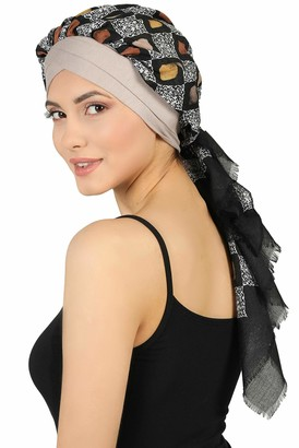 Deresina Headwear W Front Cap with Attached Scarf (Teal Plain)