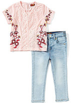 7 For All Mankind Baby Girls 12-24 Months Embroidered Floral-Printed Short-Sleeve Tee & Jeans Set