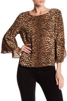 Vince Camuto Printed Bell Sleeve Blouse