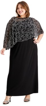 MSK Plus Size Beaded Cape Gown