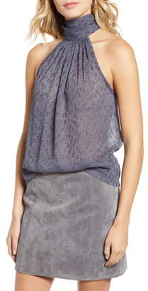 Bishop + Young Moody Blue Tie Neck Sleeveless Top