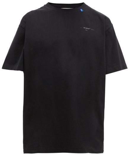Off-White Off White Oversized Partial Arrow Logo Cotton T Shirt - Mens - Black Silver