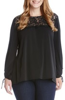 Karen Kane Plus Size Women's Lace Yoke Tie Sleeve Top